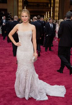 Kristen Bell wears Roberto Cavalli on the red carpet at 2014 Oscars