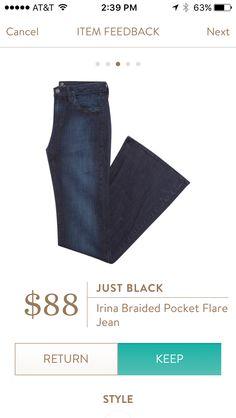 Just Black Irina Braided Pocket Flare Jean