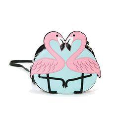 Ashley M Pink Flamingo Love Shoulder Crossbody Bag Black #AshleyM #ShoulderBag