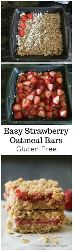 How to make the easiest Strawberry Oatmeal Bars. Kids love these moist gluten free strawberry bars. Gluten free breakfast bars are perfect for busy mornings on the go! Recipe at www.fearlessdining.com #oatmealbars #strawberrybars #glutenfree