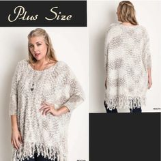 OverSized Knit Sweater!! Softest sweater I've ever felt. The color is a very pretty cream and off white. Wear with leggings and booties! 100% Knit. PLUS SIZE ONLY* Ifyou have any questions, please feel free to ask 😊 #PoshOnLadies Bohemian Sea Sweaters