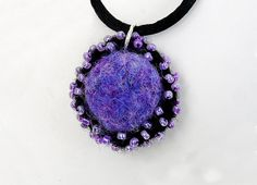 Pendant, Beaded, Purple, Black, Felted Bead, Jewelry, Necklace, Felted Necklace, Felted Jewelry