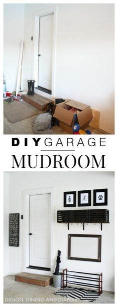 Home Decorating DIY Projects : DIY Simple Garage Mudroom. When you don't have a mudroom you can put one in the garage! -Read More – - Home Renovation, Home Remodeling, Remodeling Costs, Kitchen Renovations, Entryway Storage, Garage Storage, Garage Entryway, Garage Walls, Garage Racking