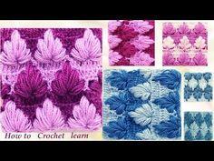 Como tejer con Gancho Crochet punto de hojas gorditas de tres formas diferentes - YouTube
