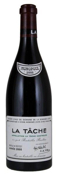 2005 Domaine De La Romanee-Conti La Tache. Type: Red Wine, Pinot Noir, Grand Cru, 750ml. Region: France, Burgundy, Cote d'Or, Cote de Nuits, Vosne-Romanee, La Tache. 3.200$ (80.000 Kc)