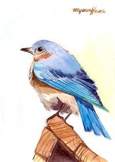 ACEO Limited Edition 4-25  pájaro en el techo por annalee377