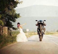 Runaway bride, motorcycle wedding, wedding dress, bride motorcycle,