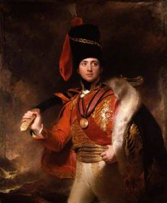 """Charles William Vane-Stewart, 3rd Marquess of Londonderry by Thomas Lawrence """"General and diplomat; one of the foremost participants in the Napoleonic War and its political aftermath. As a dashing cavalry officer Stewart acted as Wellington's Adjutant-General (1809–1812), distinguishing himself at the Douro, Talavera and Badajoz. As Ambassador to Vienna (1814–1823), he assisted his half-brother, Lord Castlereagh, and afterwards Wellington, in the peace negotiations."""" Date painted: 1812"""