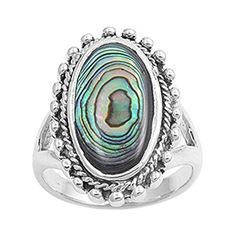 Large Long Oval Simulated Abalone Ring New .925 Sterling Silver Band Size 10 (RNG21247-10) -- For more information, visit image link.