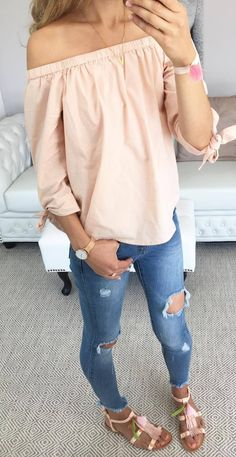 cool outfit off shoulder top + rips