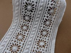 White Cotton Lace Trim Embroidered Hollowedout Lace by lacelindsay, $4.99