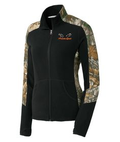 Ladies Full-Zip Jacket Camo Jacket, Motorcycle Jacket, Hooded Jacket, Realtree Camo, Hand Warmers, Zip Ups, Cute Outfits, Coyote Hunting, Fashion Outfits
