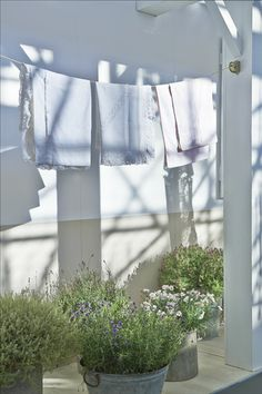 Nice idea to run the clothesline from the house itself, just outside the laundry room.