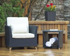 Shop All Things Cedar Rattan Deep Seating Outdoor Lounge Chair at Lowe's Canada. Find our selection of outdoor conversation chairs at the lowest price guaranteed with price match. Rattan Armchair, Outdoor Armchair, Patio Chairs, Outdoor Chairs, Outdoor Decor, Outdoor Lounge, Outdoor Ideas, Backyard Ideas, Rustic Patio