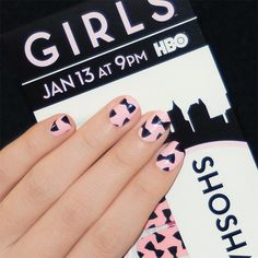 Incoco nail wraps inspired by Shoshanna from @Amy Lampe. These are out of stock but would be easy to recreate with a light pink and black polish!