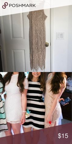 Nude Lace knee Length Dress Adorable and great color on all skin tones. Pretty lace detail. Dresses Midi