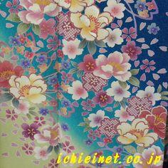 裏柳・千草色・瑠璃紺の花柄