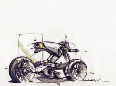 Sketches we like / Pencil Sketch / Yellow detail / Motorbike / at leManoosh : Photo