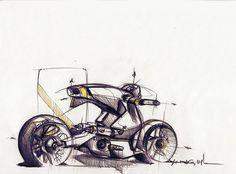 Sketches we like / Pencil Sketch / Yellow detail / Motorbike / at leManoosh : Photo
