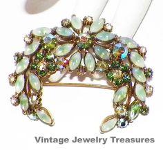 Vintage Signed Florenza Green Givre' Rhinestone by basketcasedebra, $49.99