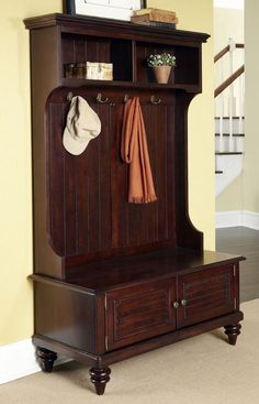Hall Tree Storage Bench Entryway Coat Rack Stand Antique Furniture Hooks Cottage