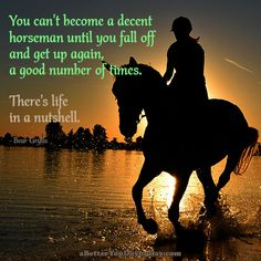 You can't become a decent horseman until you fall off and get up again, a good number of times. There's life in a nutshell. -Bear Grylls