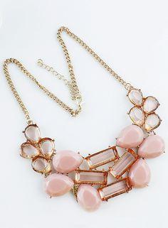 Collar cadenas dorado con piedra rosado EUR6.19