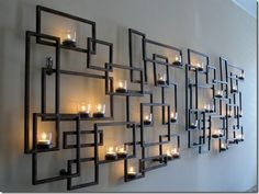 Large wall sconce and candles, tealights, metal