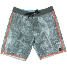 Volcom Mens Chirp Chirp Gray Printed Contrast Trim Board Shorts 32