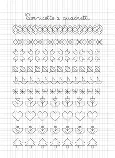 Cornicette e disegni a quadretti Blackwork Patterns, Blackwork Embroidery, Embroidery Stitches, Lace Patterns, Graph Paper Art, Learn To Draw, How To Draw Hands, New York T Shirt, High School Art