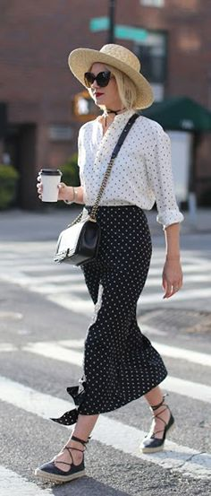 atlantic-pacific fashion blog | polka dot skirt | polka dots top | chanel bag | street style