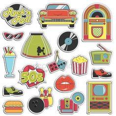 Скачать - Набор ретро наклейки в стиле ретро 1950-х годов — стоковая иллюстрация #133204480