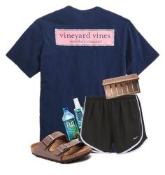"""ok so i have curly hair and i'm trying to use mousse and i have no clue what i'm doing "" by samanthars on Polyvore featuring Vineyard Vines, NIKE, Urban Decay and Birkenstock"