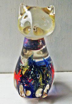 Vintage Cat Figurine Blown Glass Paperweight by GoadingTheMuse Glass Paperweights, Glass Vase, Blown Glass Art, Antique Perfume Bottles, Glass Figurines, Fenton Glass, Glass Animals, Vintage Cat, Cat Art