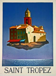 Vintage Travel Poster - Saint Tropez - France - by Emile Gaud - 1980.