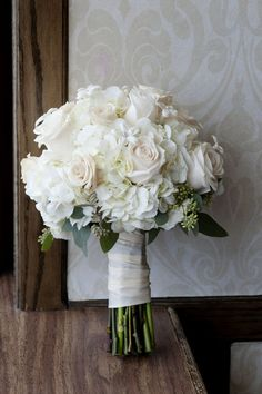 White rose and hydrangea bouquet // image by Lizzie Loo Photography, floral design by Lloyd's Florist, via http://theeverylastdetail.com/2013/08/26/classic-navy-and-pink-kentucky-wedding