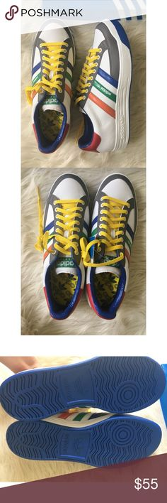 """NWT men's adidas sneakers size 10 1/2 New with tags amazing men's size 10 1/2 adidas colorful sneakers """"nastaste"""". One of the shoe lace holes is a tiny bit damaged adidas Shoes Sneakers"""
