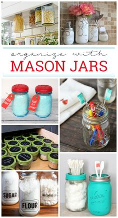18 Effective Ways To Organize With Mason Jars - who doesn't love a good mason jar diy Wine Bottle Crafts, Jar Crafts, Diy And Crafts, Simple Crafts, Wine Bottles, Plastic Bottles, Handmade Crafts, Diy Hanging Shelves, Floating Shelves Diy