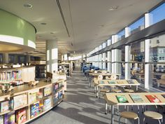 Bronx library center dattner architects new york city, new york, untied states credit: jeff goldberg, esto Architecture Student Portfolio, Library Center, Ceiling Height, Open Floor, Interior Lighting, Open House, Layout, Shelves, Windows
