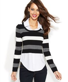 INC International Concepts Layered-Look Striped Sweater