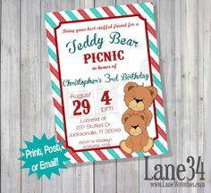 Teddy Bear Picnic Birthday Invitation Printable DIY by Lane34Party, $8.00 Sweet teddy bear birthday invitation