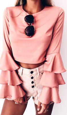 Ruffle crop blouse