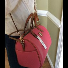 "Olivia large Satchel Spring Fuchsia 13.0"" W X 10.0"" H X 6. 5"" D long shoulder. Strap great gift for Dooney  lovers Dooney & Bourke Bags Satchels"