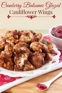 Cranberry Balsamic Glazed Cauliflower Wings | #christmas #xmas #holiday #food #christmasdinner #holidayfood #appetizers #recipe