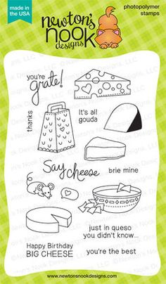 Just Say Cheese 4 x 6 Photopolymer Stamp Set by Newton's Nook Designs $14.99 http://www.newtonsnookdesigns.com/just-say-cheese/