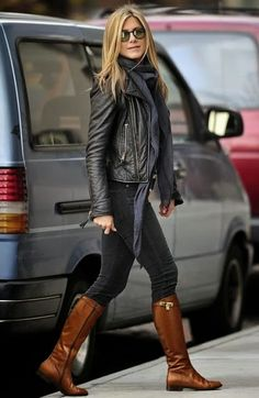 Jennier Aniston - classic casual Fall look - Infinity Scarf, High Boots and Leather Jacket