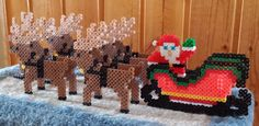 3D Perler Santa and his reindeer (with Rudolph).