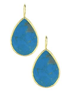 Yellow Gold Plating over Silver Turquoise Large Teardrop Pierced Earrings at Jennifer Miller
