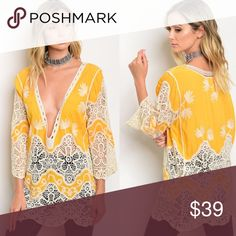 ☀️✨ COMING SOON! Sunshine and Lace Top ✨☀️ This top is a pattern lovers dream! Love the bright yellow for the spring and going into the summer! If you would like me to hold you one please comment your size below to reserve yours NOW! Happy Poshing 💁🏾✨  💁🏾✨Happy Poshing!  🌟 Suggested User 🌟 🙋🏾 Top 10% Sharer/Mentor ⭐️⭐️⭐️⭐️⭐️ 5 star Gal 📫 Fast Shipper!  Ships Same/Next Day📦  🏡 Odor Free 🐩 Pet Free 🚫 No PayPal/No Trades/NO Lowball offers 😀 Tops
