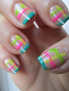 Nude nails with neon, brights, stripes, teal, turquoise, pink, white, yellow, green free hand nail art